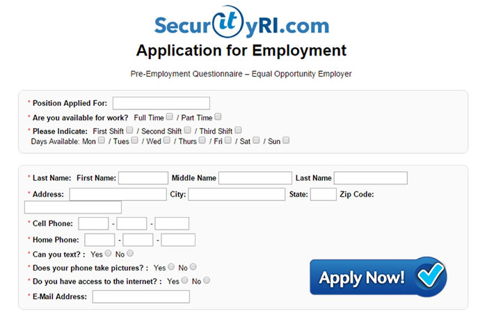 Click for employment application